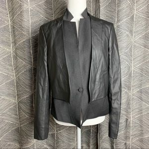 Rachel Roy • Faux Leather Black Gray Blazer Jacket